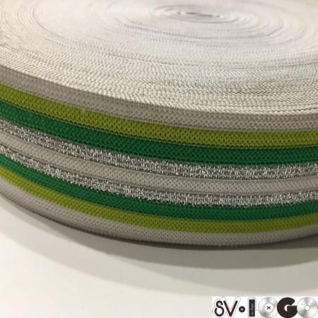 Резинка 42 мм зеленая серебро (32 метра)