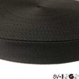Тесьма-лента ременная производство 25мм черная зигзаг (50 метров)