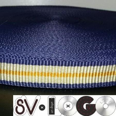 Тесьма-лента ременная производство 18мм сине бежевая (50 метров)