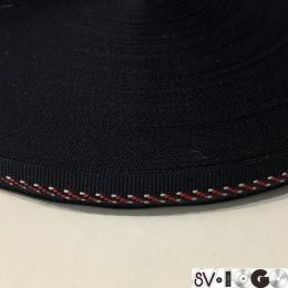 Тесьма репсовая производство 15мм синяя узор красный (50 метров)