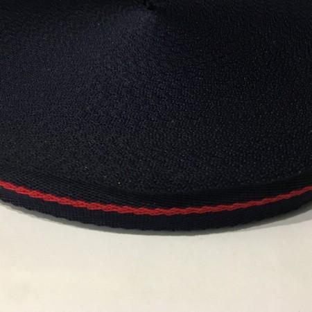 Тесьма репсовая производство 20мм синяя узор красный (50 метров)