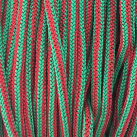 Шнур круглый 4мм наполнитель красно зеленый (200 метров)