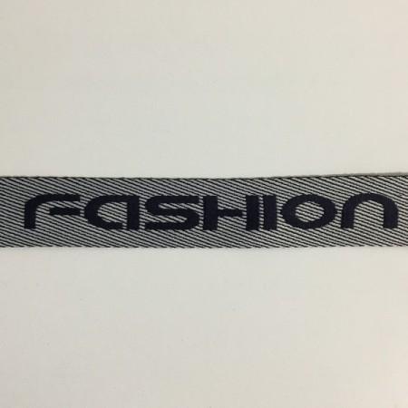 Тесьма с логотипом 35мм Fashion серая (50 метров)
