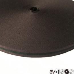 Тесьма репсовая производство 10мм коричневая черная (50 метров)