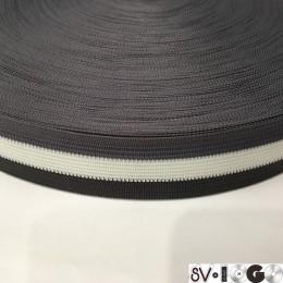 Тесьма окантовочная 30мм серый белый серый темный (100 метров)