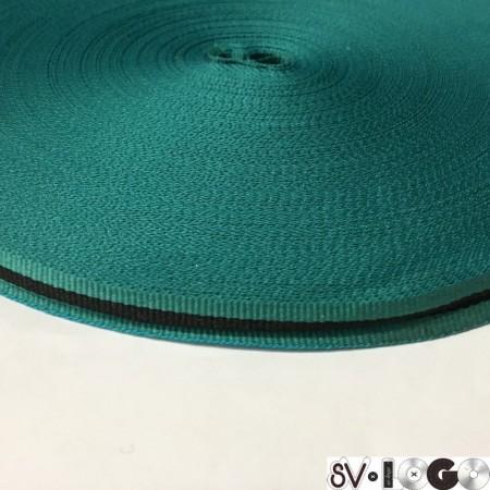 Тесьма репсовая производство 10мм бирюзовая  черная (50 метров)