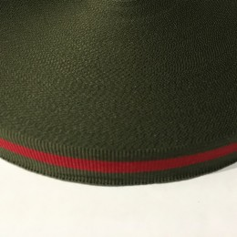 Тесьма репсовая производство 20мм хаки красный (50 метров)