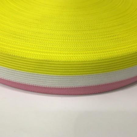 Тесьма окантовочная 30мм розовый желтый белый (100 метров)