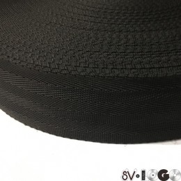 Тесьма-лента ременная производство 50мм черная зигзаг (50 метров)