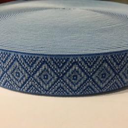 Резинка с логотипом Орнамент 40мм голубой белый (метр )