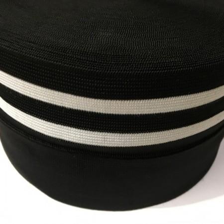 Резинка 120мм для манжетов Черная 2 белые полоски (метр )