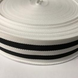 Тесьма репсовая производство 40мм белая 2п черные (50 метров)