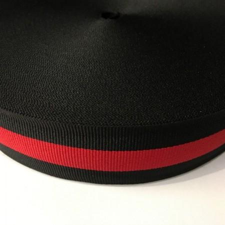 Тесьма репсовая производство 40мм черная 1п красная (50 метров)