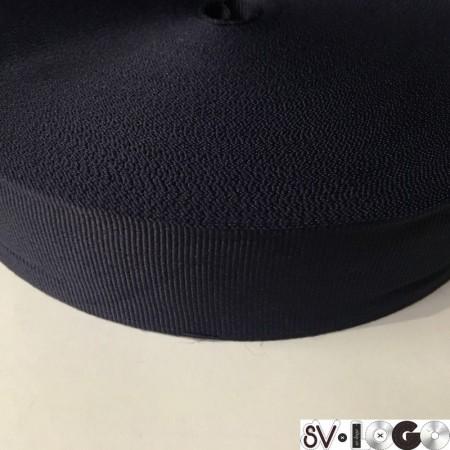Тесьма репсовая производство 40 мм синяя темная (50 метров)