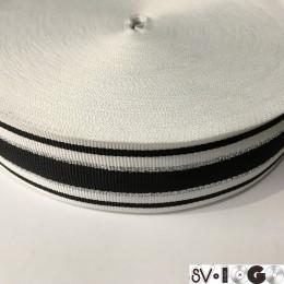 Тесьма репсовая производство 40мм белая черная 2п серебро (50 метров)