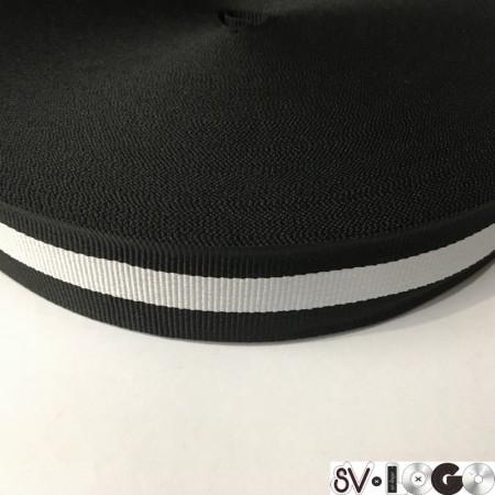 Тесьма репсовая производство 30 мм черная 1п белая (50 метров)