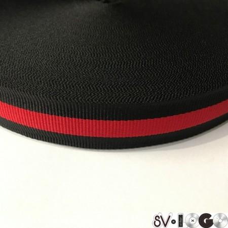 Тесьма репсовая производство 25мм черная 1п красная (50 метров)