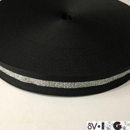 Тесьма репсовая производство 25 мм черная 1п серебро (50 метров)