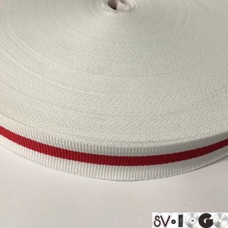 Тесьма репсовая производство 20мм белая 1п красная (50 метров)