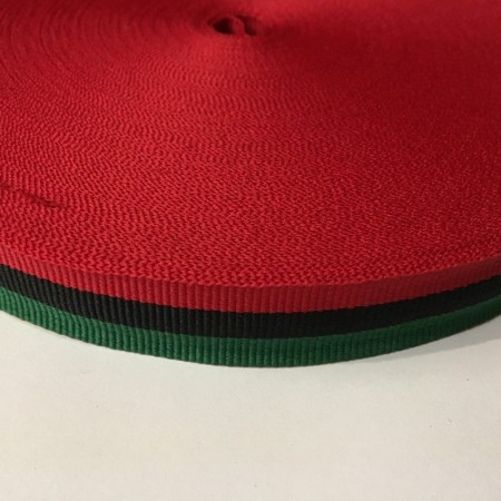 Тесьма репсовая производство 20мм красный черный зеленый (50 метров)