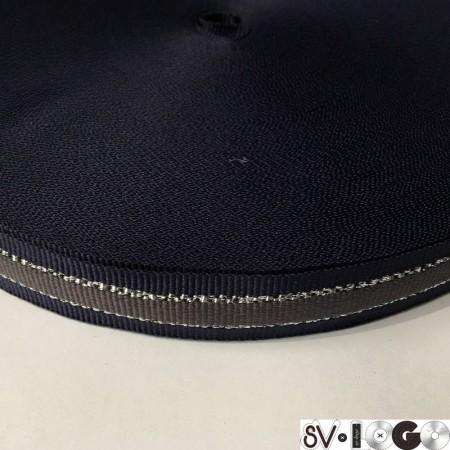 Тесьма репсовая производство 20мм синяя серая серебро (50 метров)