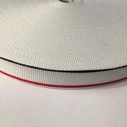 Тесьма репсовая производство 20мм белая 1п красная 1п черная (50 метров)