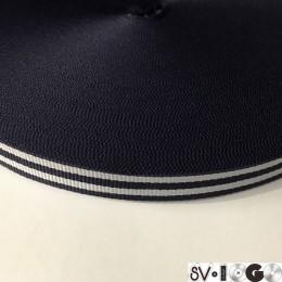 Тесьма репсовая производство 15мм синяя 2п белые (50 метров)