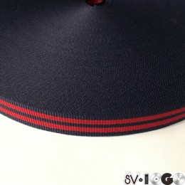 Тесьма репсовая производство 15мм синяя 2п красные (50 метров)
