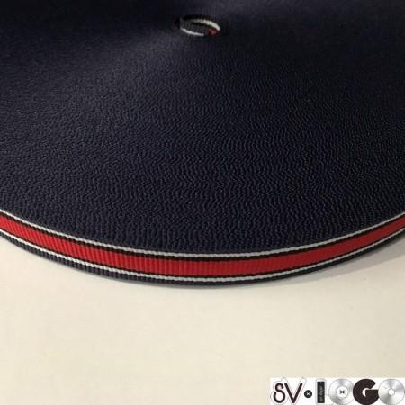 Тесьма репсовая производство 15 мм синяя белая красная (50 метров)