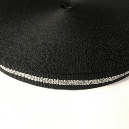 Тесьма репсовая производство 15мм черная 1п серебро (50 метров)