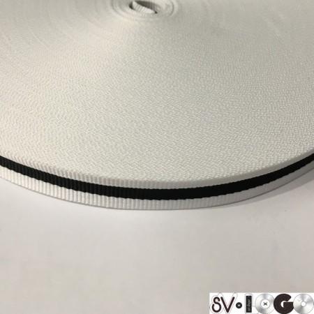 Тесьма репсовая производство 15 мм белая 1п черная (50 метров)