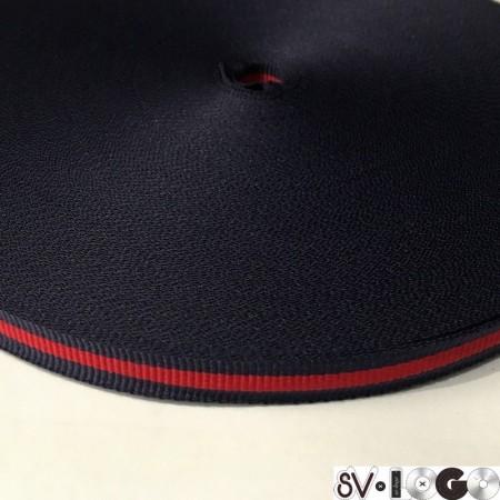 Тесьма репсовая производство 10 мм синяя 1п красная (50 метров)