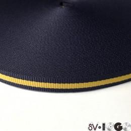Тесьма репсовая производство 10мм синяя 1п желтая (50 метров)