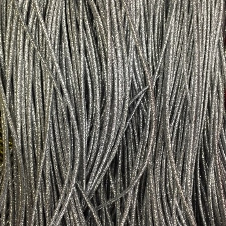 Резинка шнур производство 2,5см серебро  (50 метров)