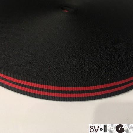 Тесьма репсовая производство 15мм черная 2п красные (50 метров)