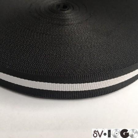 Тесьма репсовая производство 20мм черная 1п белая  (50 метров)
