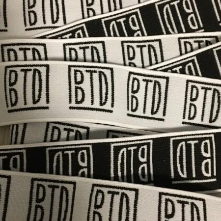Резинка тканная жаккардовая с логотипом BTD 40мм (заказная) (метр )