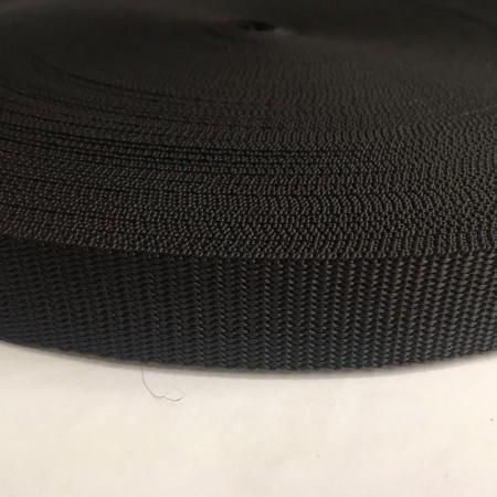 Тесьма-лента ременная производство 25мм черная репс (50 метров)