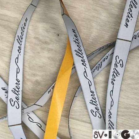 Этикетка жаккардовая вышитая Soltero 12мм клеевая заказная (100 метров)