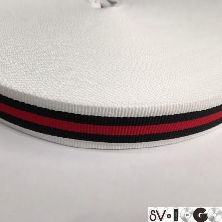 Тесьма репсовая производство 25 мм белая 1п красная 2п черных (50 метров)