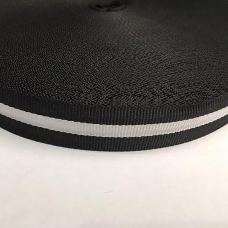 Тесьма репсовая производство 25мм черная 1п белая (50 метров)