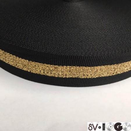 Тесьма репсовая производство 30 мм черная 1п золото (50 метров)