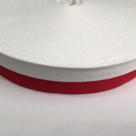 Тесьма репсовая производство 30мм белая красная (50 метров)