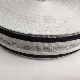 Тесьма репсовая производство 40мм белая черная 3п серебро (50 метров)