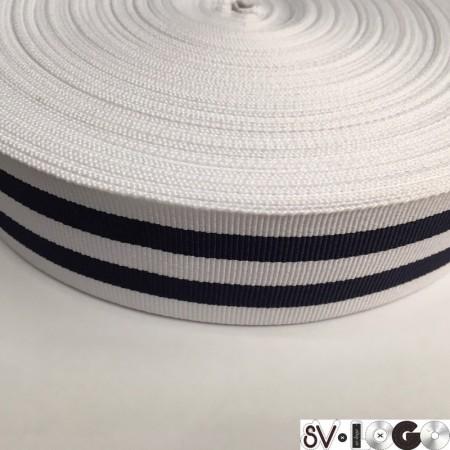 Тесьма репсовая производство 40 мм белая 2п синие (50 метров)