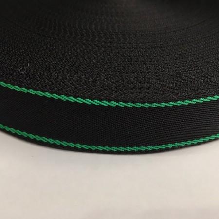 Тесьма репсовая производство 25мм черная 2п зеленый (50 метров)