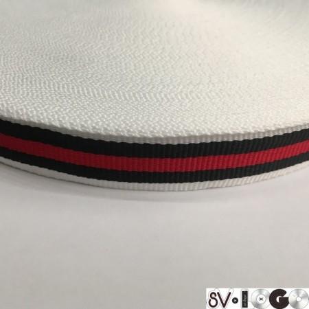 Тесьма репсовая производство 20 мм белая 1п красная 2 черных (50 метров)