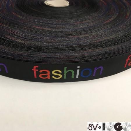 Тесьма с логотипом 20мм Fashion жаккардовая цветная (100 метров)