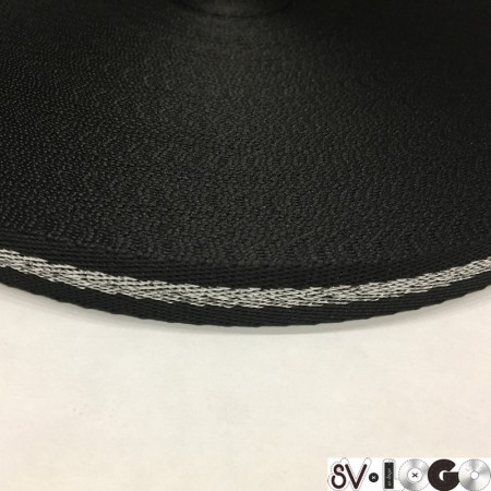 Тесьма репсовая производство 15мм черная серебро елка (50 метров)