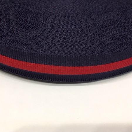 Тесьма репсовая производство 20мм синяя 1п красная (50 метров)